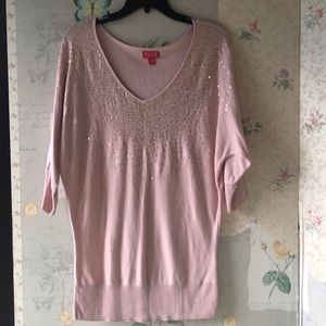 3/4 sleeve blush sweater w/ sequins.